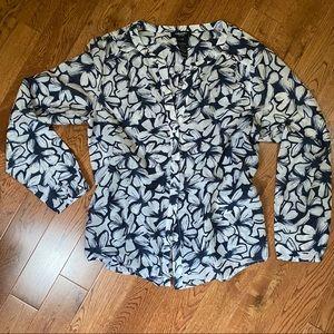 Olsen Europe blue & white cotton silk blend blouse